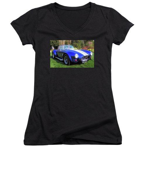 Blue 427 Shelby Cobra In The Garden Women's V-Neck