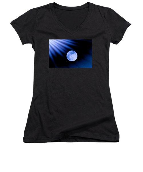 Blue Rays On The Moon Women's V-Neck