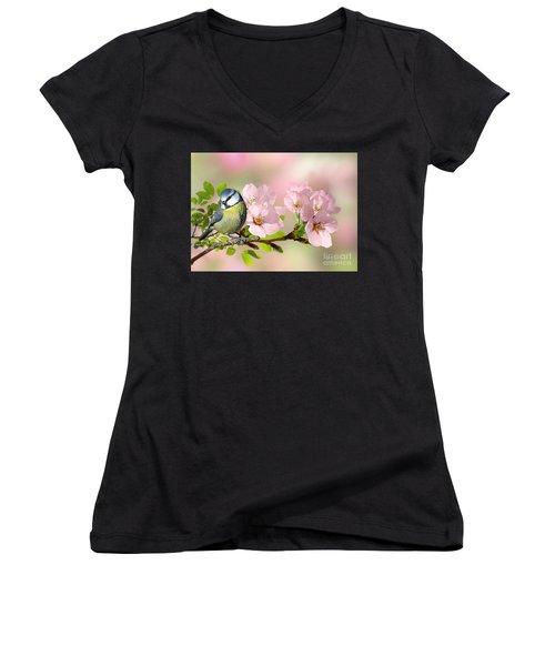 Blue Tit On Apple Blossom Women's V-Neck