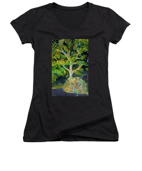 Branching Out Peacock Women's V-Neck