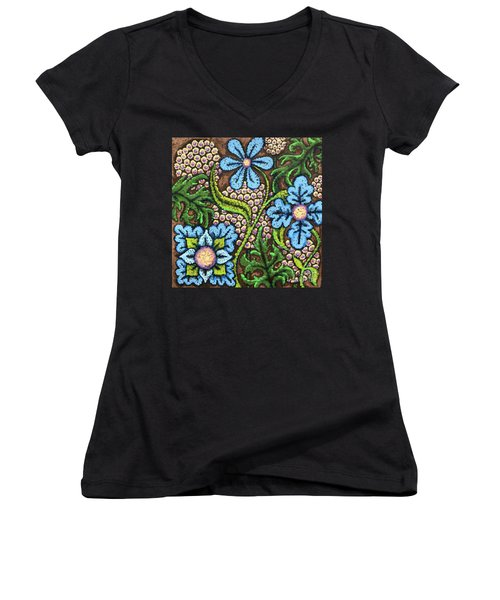 Brown And Blue Floral 2 Women's V-Neck