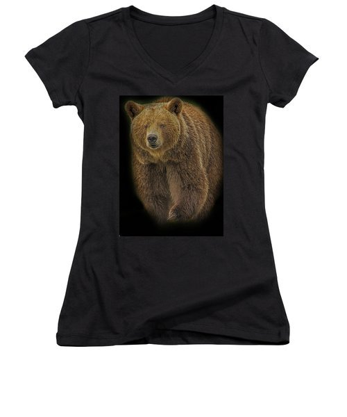 Brown Bear In Darkness Women's V-Neck