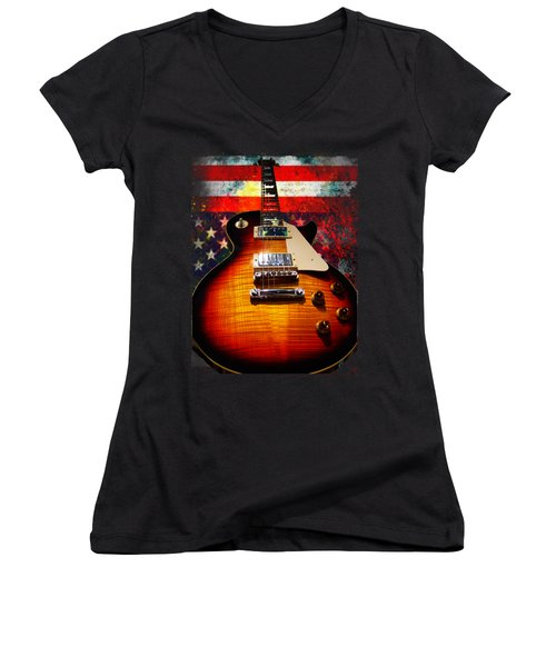 Burst Guitar American Flag Background Women's V-Neck