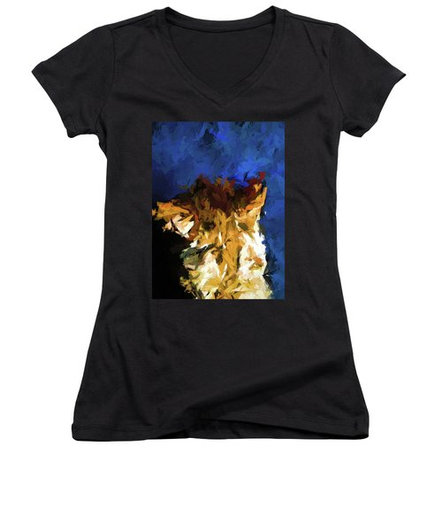 Cat And The Cobalt Blue Wall Women's V-Neck (Athletic Fit)