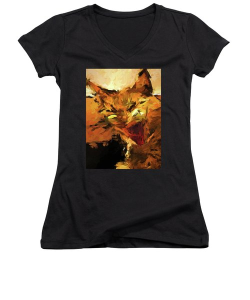 Cat Cathartic Scream Women's V-Neck (Athletic Fit)