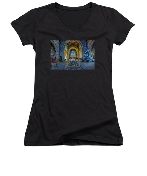 Cathedral At Christmas Women's V-Neck