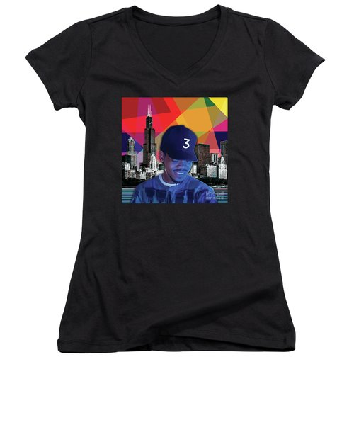 Women's V-Neck featuring the painting Chance Chicago by Carla B