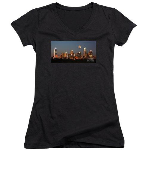 Charlotte City Skyline At Sunset Women's V-Neck