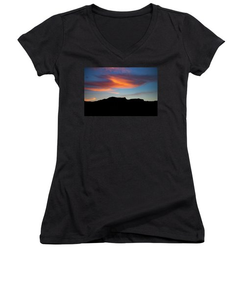 Cloud Over Mt. Boney Women's V-Neck (Athletic Fit)