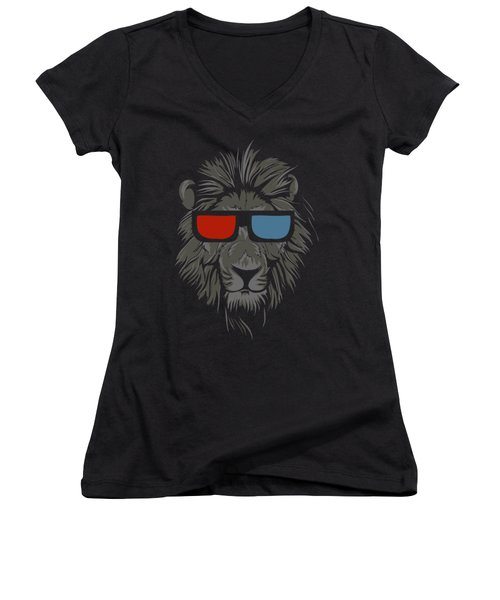 Cool Lion With Glasses Women's V-Neck