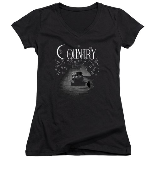 Country Music Guitar Music Women's V-Neck