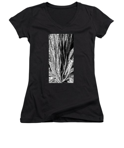 Crystal Floral Black Opposite Women's V-Neck