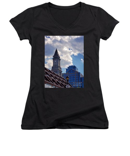 Custom House Clock Tower Women's V-Neck