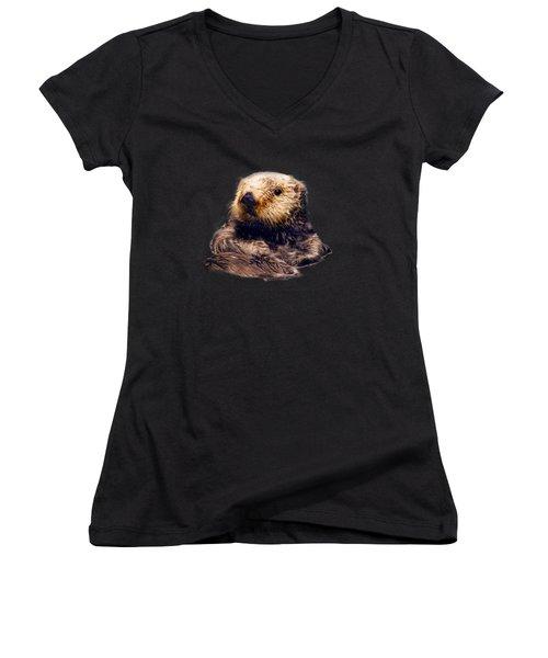 Cute Sea Otter Women's V-Neck