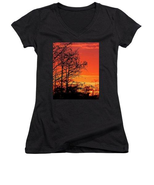 Cypress Swamp Sunset Women's V-Neck