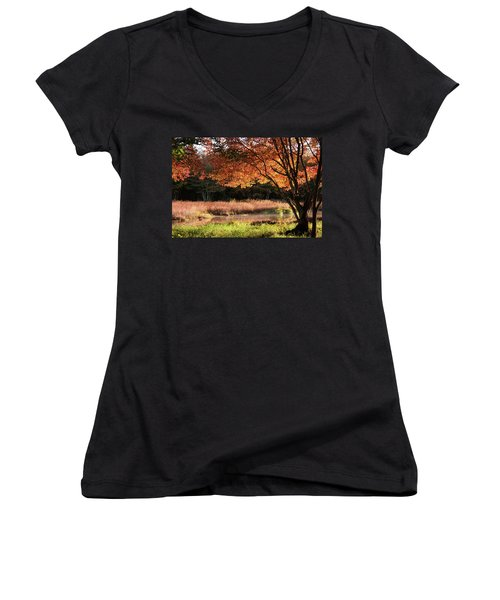 Dawn Lighting Rhode Island Fall Colors Women's V-Neck
