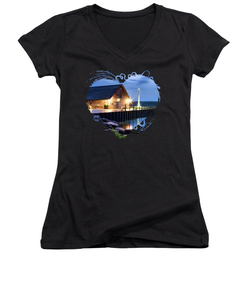 Door County Anderson Dock Twilight Women's V-Neck