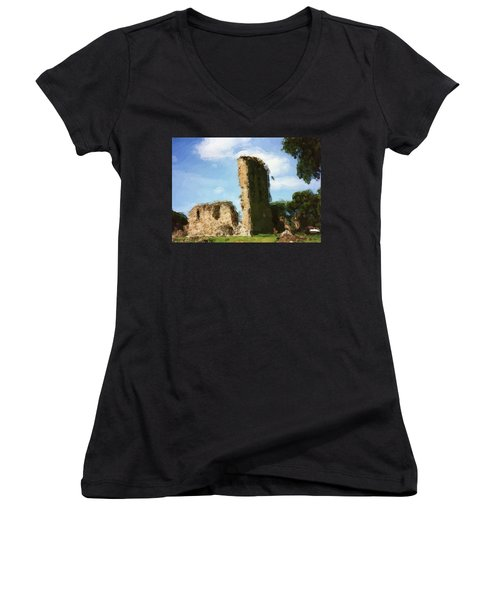Elgin Cathedral Ruins Painting Women's V-Neck