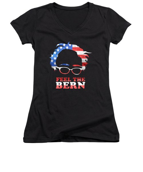 Feel The Bern Patriotic Women's V-Neck