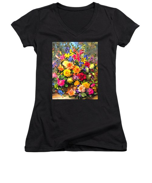 Floral Bouquet In Acrylic Women's V-Neck