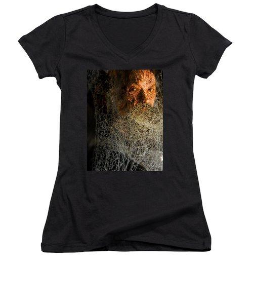 Women's V-Neck featuring the digital art Gandalf - Cobwebby Self-portrait by Attila Meszlenyi