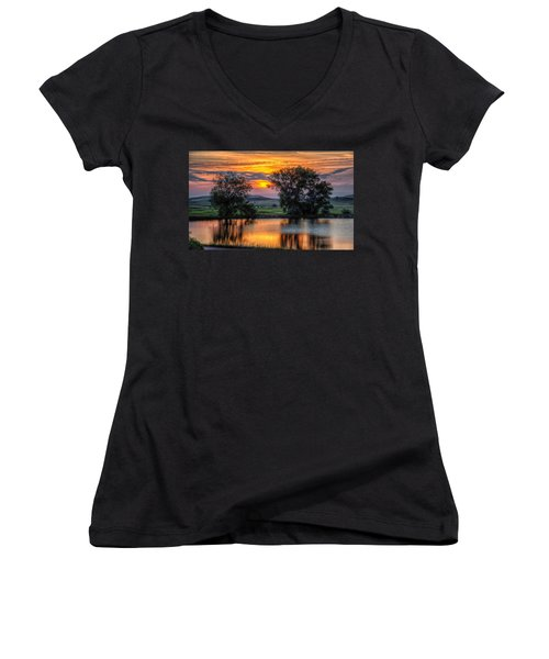 Women's V-Neck featuring the photograph Golden Pond At 36x60 by Fiskr Larsen
