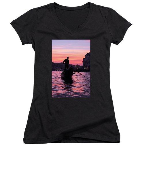 Gondolier At Sunset Women's V-Neck