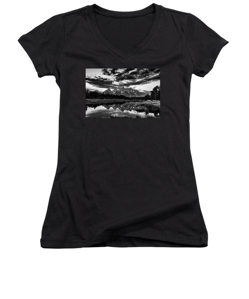 Grand Tetons, Wyoming Women's V-Neck (Athletic Fit)