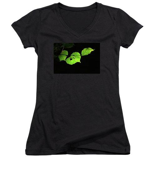 Green Leaves Women's V-Neck