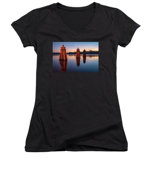 Group Of Three Docking Piles On Connecticut River Women's V-Neck