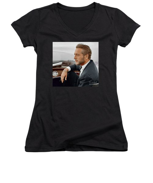 Hand Colored Picture Of Paul Newman Women's V-Neck