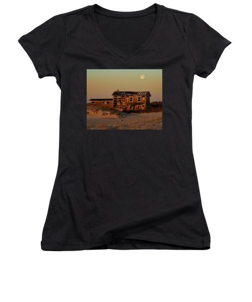 Clements House With Full Moon Behind Women's V-Neck