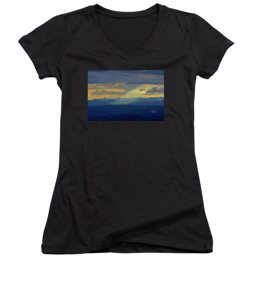 Hawks Bill Mountain Sunset Women's V-Neck
