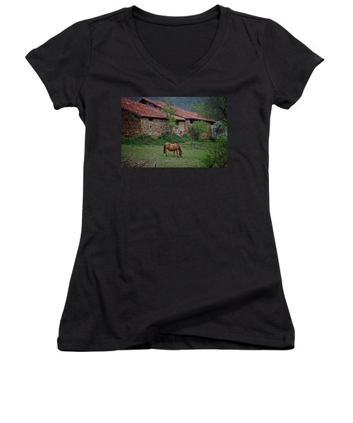 Horse In The Field Next To A Rural House Women's V-Neck