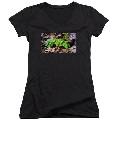 Women's V-Neck featuring the photograph House Of Stone by Andrea Platt