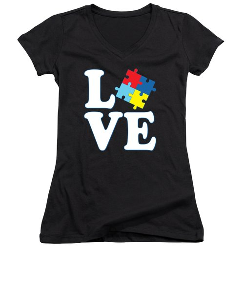 Women's V-Neck featuring the digital art I Love Autism by Flippin Sweet Gear