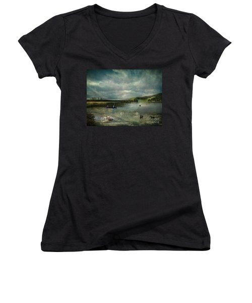 Idyllic Swans Lake Women's V-Neck