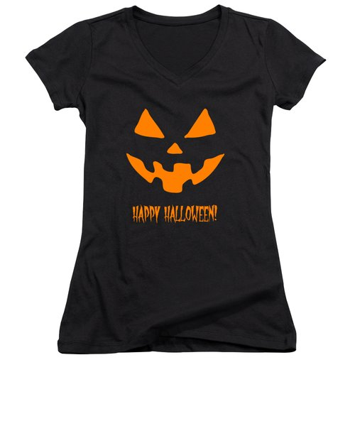 Jackolantern Happy Halloween Pumpkin Women's V-Neck