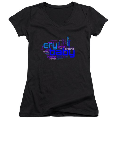 Janis Joplin - Cry Baby Lyrical Cloud Women's V-Neck