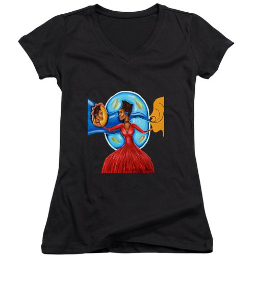 African Goddess Lady In Red Afrocentric Art Mother Earth Black Woman Art Women's V-Neck
