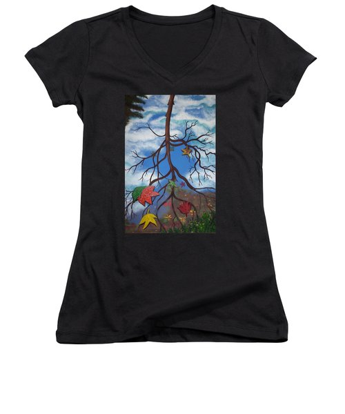 Lake Reflections - Autumn Women's V-Neck (Athletic Fit)