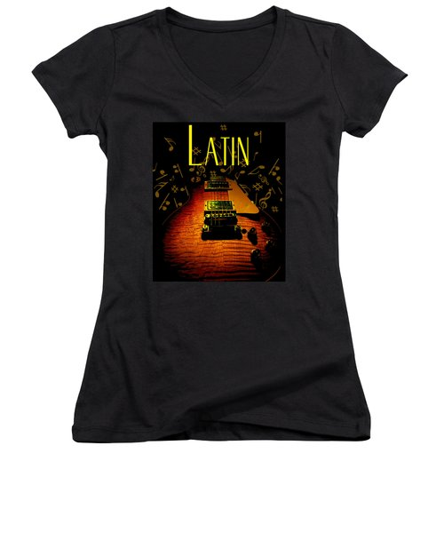 Latin Guitar Music Notes Women's V-Neck