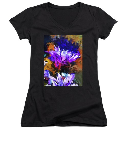 Lavender Flower And The Cobalt Blue Reflection Women's V-Neck (Athletic Fit)