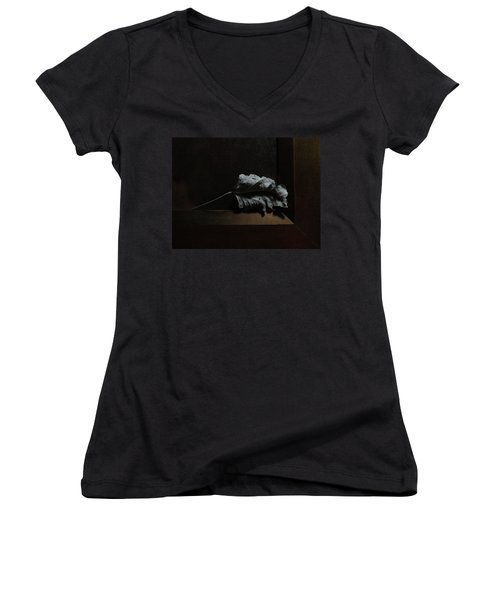 Women's V-Neck featuring the photograph Leaf And Frame by Attila Meszlenyi