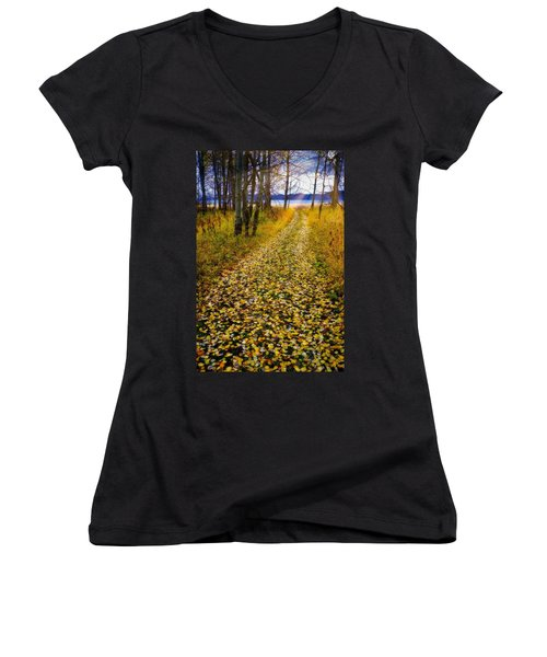 Leaves On Trail Women's V-Neck