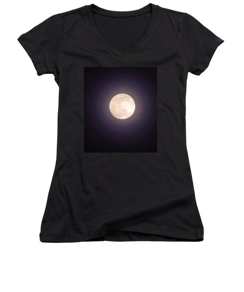 Women's V-Neck (Athletic Fit) featuring the photograph Libra Full Moon by Judy Kennedy