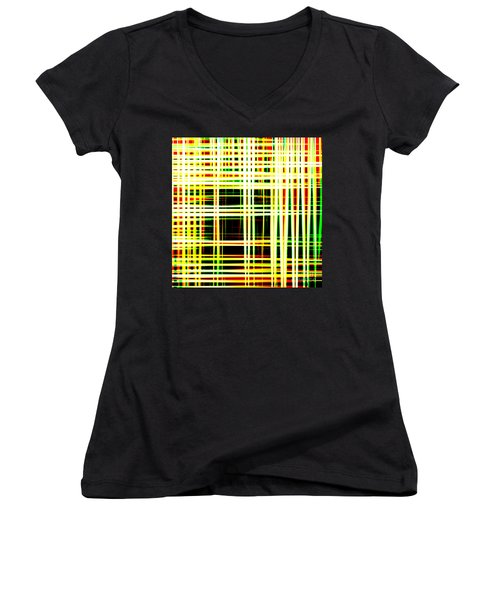 Lines And Squares In Color Waves - Plb418 Women's V-Neck