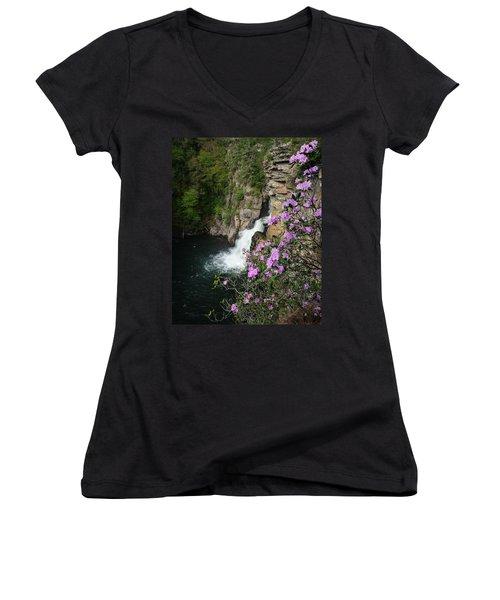 Linville Falls Carolina Rhododendron Women's V-Neck