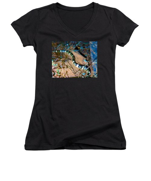 Women's V-Neck (Athletic Fit) featuring the photograph Longnosed Snake By A Desert Wash by Judy Kennedy