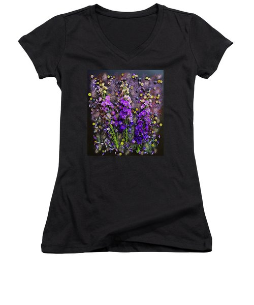 Lupine And Blueberries  Women's V-Neck